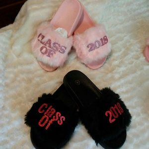 Shoes - Pink and Black or Pink on Pink 2018 Fur Slippers